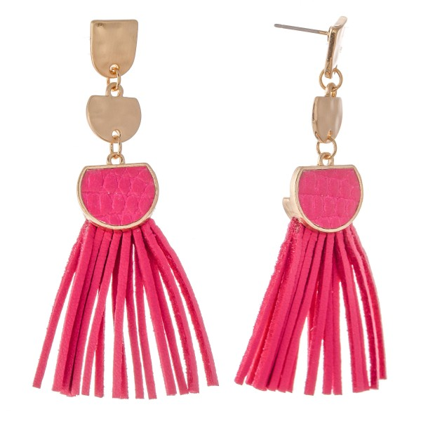 "Metal Encased Faux Leather Tassel Drop Earrings.  - Approximately 2.75"" L"