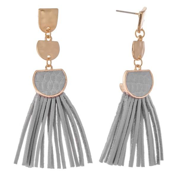 """Metal Encased Faux Leather Tassel Drop Earrings.  - Approximately 2.75"""" L"""