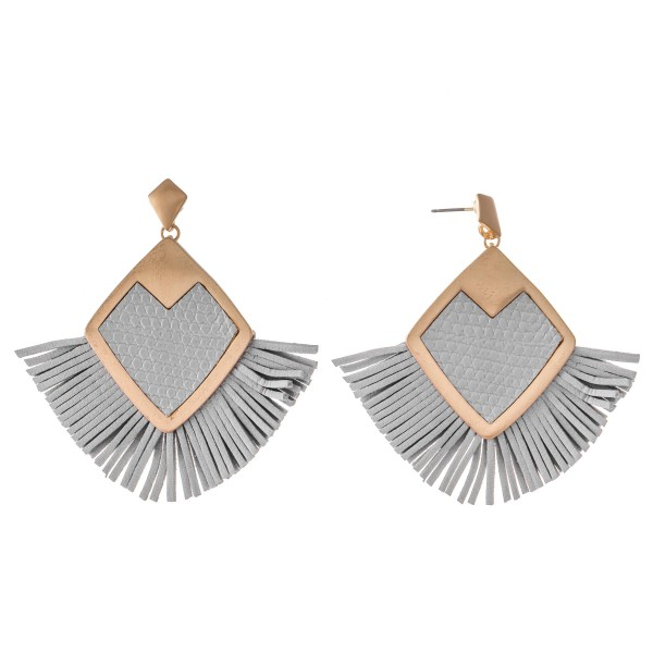 "Metal Encased Faux Leather Diamond Tassel Statement Earrings.  - Approximately 2.5"" x 2.5"""