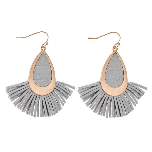 "Metal Encased Faux Leather Tassel Teardrop Earrings.  - Approximately 2.25"" L"