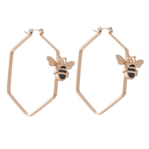 """Designer Inspired Honeycomb Hoop Earrings Featuring a Natural Stone Bee Accent.  - Approximately 2"""" in Diameter"""