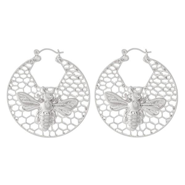 """Designer Inspired Honeycomb Filigree Hoop Earrings Featuring Bee Detail.  - Approximately 1.75"""" in Diameter"""
