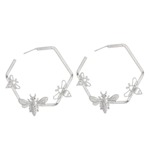 """Designer Inspired Honeycomb Hoop Earrings Featuring Bee Accents.  - Approximately 2"""" in Diameter"""