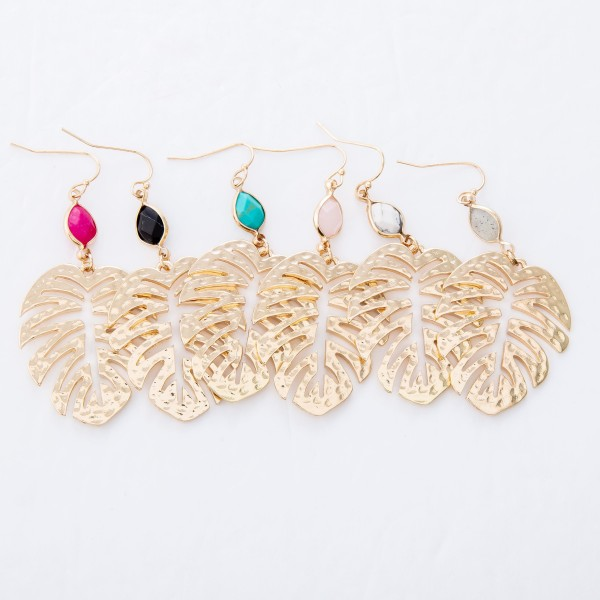 "Hammered Palm Leaf Drop Earrings Featuring Semi Precious Accent.  - Approximately 2.25"" L"