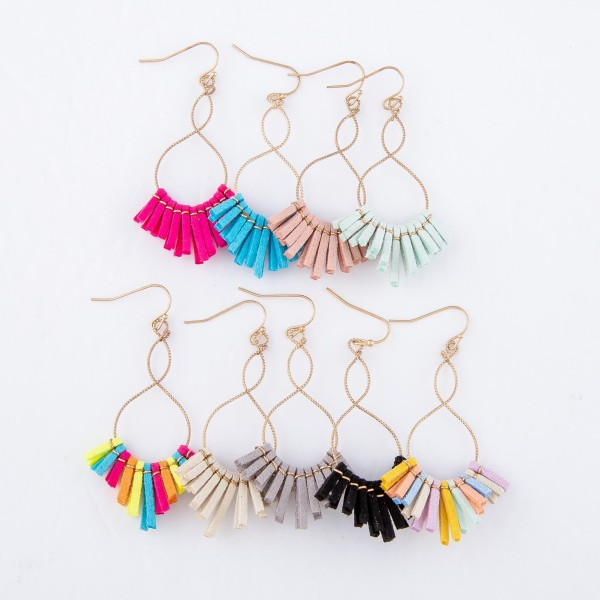 """Twisted Textured Loopy Faux Leather Tassel Drop Earrings.  - Approximately 2.25"""" L"""
