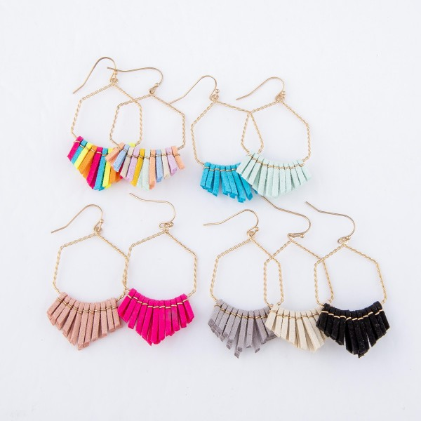 """Twisted Textured Faux Leather Tassel Drop Earrings.  - Approximately 2"""" L"""
