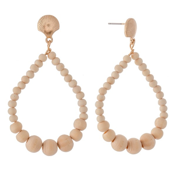 """Wood Beaded Teardrop Earrings Featuring Sea Shell Accent.  - Approximately 2"""" L"""