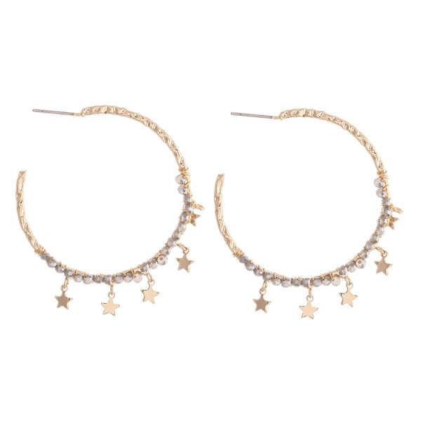 "Textured Hoop Earrings Featuring Beaded Detail with Star Accents.  - Approximately 1.75"" in Diameter"