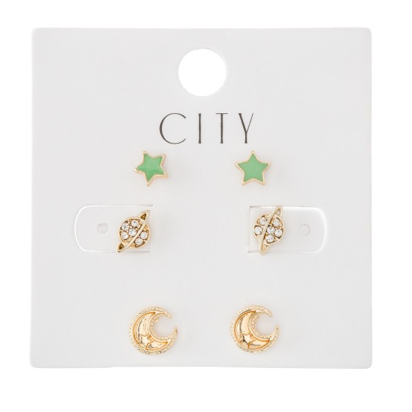 Enamel Coated Space Stud Earring Set Featuring Stars, Rhinestone Planets & Moons.  - 3 Pair Per Set - Approximately 6mm - 1cm