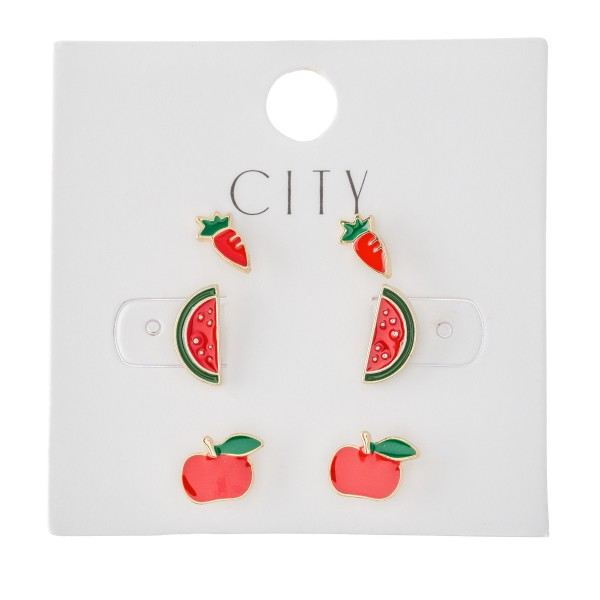 Enamel Coated Fruit & Veggie Stud Earrings Set Featuring Carrots, Watermelons & Apples.  - 3 Pair Per Set - Approximately 1cm in size