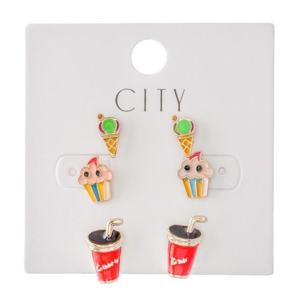 Enamel Coated Ice Cream & Soda Stud Earring Set Featuring Ice Cream, Cupcakes & Soda.  - 3 Pair Per Set - Approximately 1cm