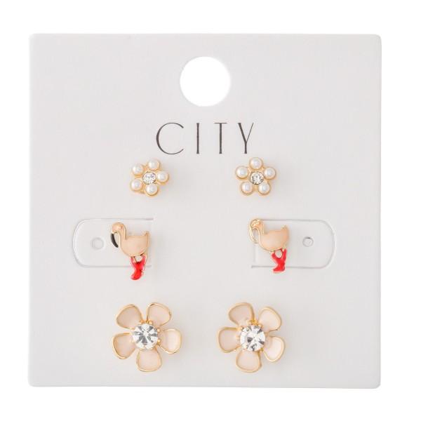 Enamel Coated Flamingo & Flower Stud Earring Set Featuring Pearl Flowers, Flamingos & Rhinestone Flowers.  - Approximately 6mm - 1cm