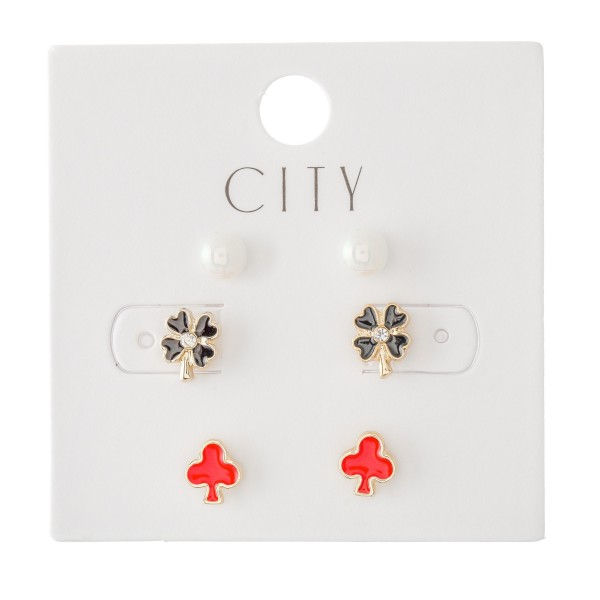 Enamel Coated Opal Pearls & Clover Stud Earring Set Featuring Opal Pearls, Clubs & Clover Flowers with Rhinestone Accent.  - 3 Pair Per Set - Approximately 6mm