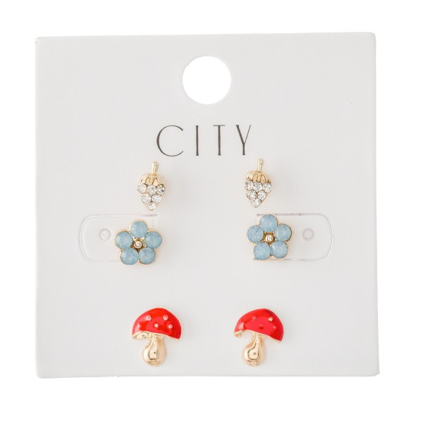 Enamel Coated Mushrooms & Flowers Stud Earring Set Featuring Rhinestone Grapes, Flowers & Mushrooms.  - 3 Pair Per Set - Approximately 7mm - 1cm