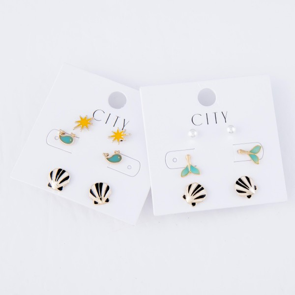 Enamel Coated Beach Stud Earring Set Featuring Whales, Starburst & Seashells.  - 3 Pair Per Set - Approximately 8mm - 1cm