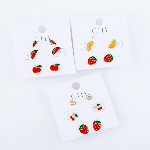 Enamel Coated Pearl & Fruit Stud Earrings Set Featuring Metal Encased Pearls, Cherries & Strawberries.  - Approximately 6mm - 1cm