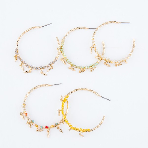 """Textured Hoop Earrings Featuring Beaded Detail with Lightning Bolt Accents.  - Approximately 1.75"""" in Diameter"""