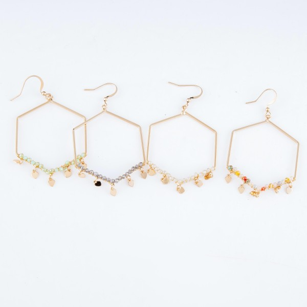 "Hexagon Drop Earrings Featuring Beaded Detail with Heart Accents.  - Approximately 2"" L"