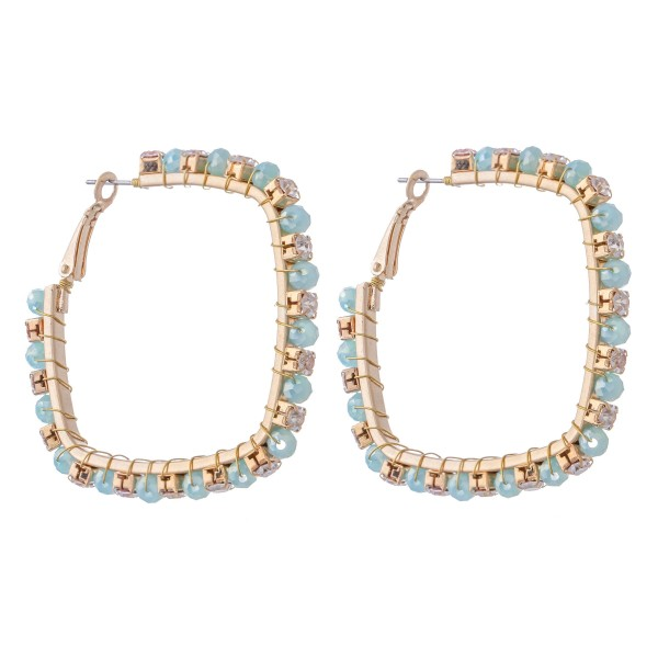 Metal Square Hoop Earrings Featuring Wire Wrapped Rhinestone Beaded Detail.  - Approximately 2""
