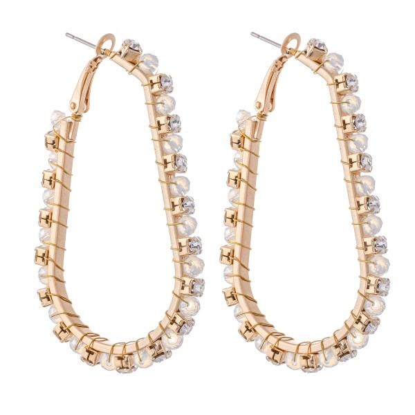 Metal J Hoop Statement Earrings Featuring Wire Wrapped Rhinestone Beaded Detail.