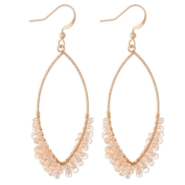 """Pointed Oval Shape Drop Earrings Featuring Wrapped Beaded Details.  - Approximately 2.5"""" L"""