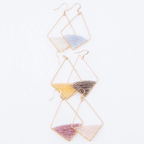 """Rhombus Shape Drop Earrings Featuring Seed Beaded Filled Detail.  - Approximately 2.5"""" L"""
