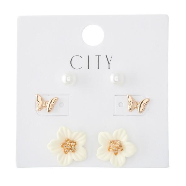Wholesale flower Pearl Stud Earring Set Pair Per Set mm mm