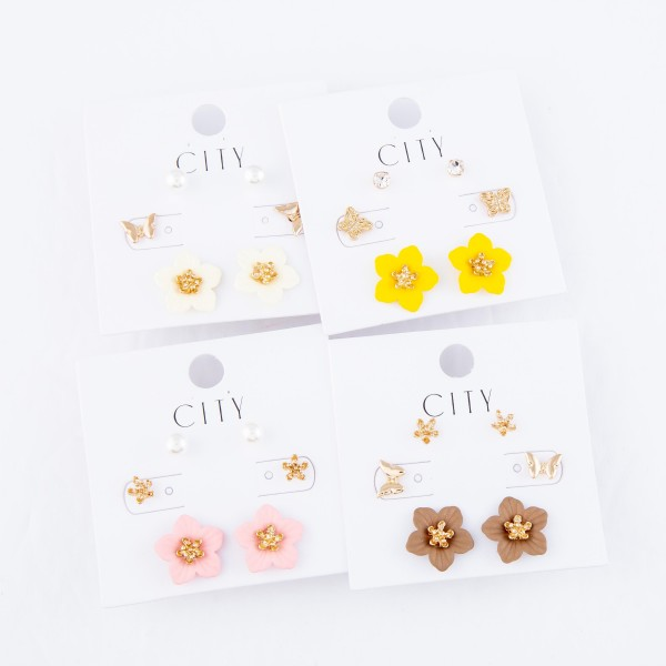 Flower Coated Pearl Stud Earring Set.  - 3 Pair Per Set - Approximately 5mm - 15mm