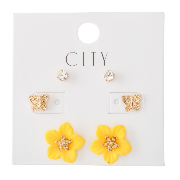 Butterfly Flower Coated Stud Earring Set.  - 3 Pair Per Set - Approximately 5mm - 15mm