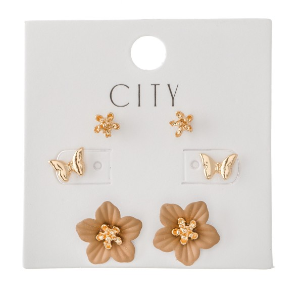 Wholesale butterfly Flower Stud Earring Set Pair Per Set mm mm