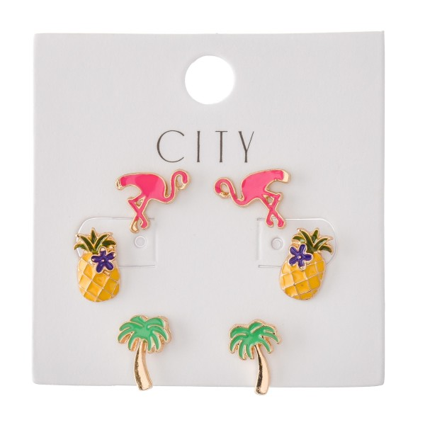 Summer Time Enamel Coated Stud Earring Set Featuring Palm Trees, Flamingos & Pineapples.  - 3 Pair Per Set - Approximately 1cm