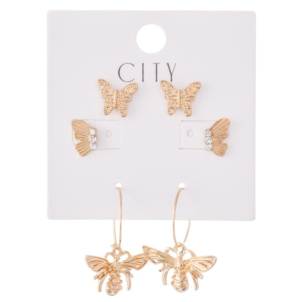 """Butterly Earring Set Featuring Butterflies & Bee Hoops with Rhinestone Accents in Gold.  - 3 Pair Per Set - Approximately 1cm - .5"""""""