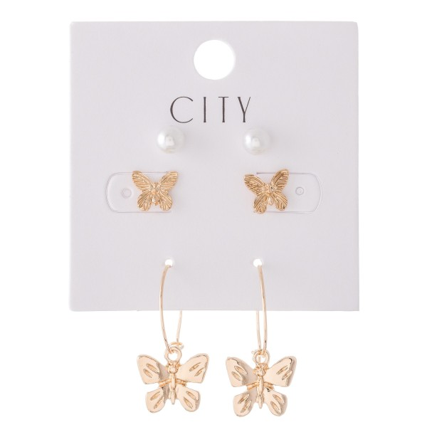 """Butterfly Pearl Earring Set Featuring Pearls , Butterflies & Butterfly Hoops in Gold.  - 3 Pair Per Set - Approximately 6mm - .5"""""""