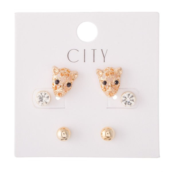 """Tiger Stud Earring Set Featuring Rhinestones & Ball Studs in Gold.  - 3 Pair Per Set - Approximately 6mm - .5"""""""