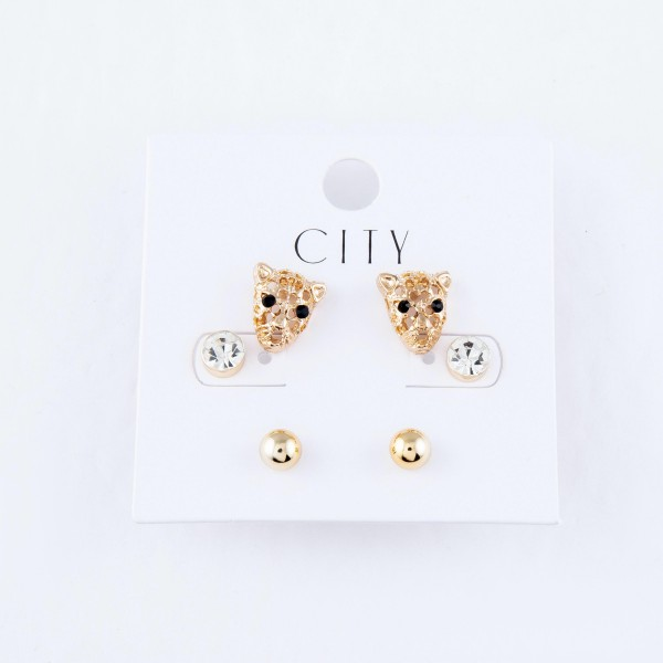 Tiger Stud Earring Set Featuring Rhinestones & Ball Studs in Gold.  - 3 Pair Per Set - Approximately 6mm - .5""