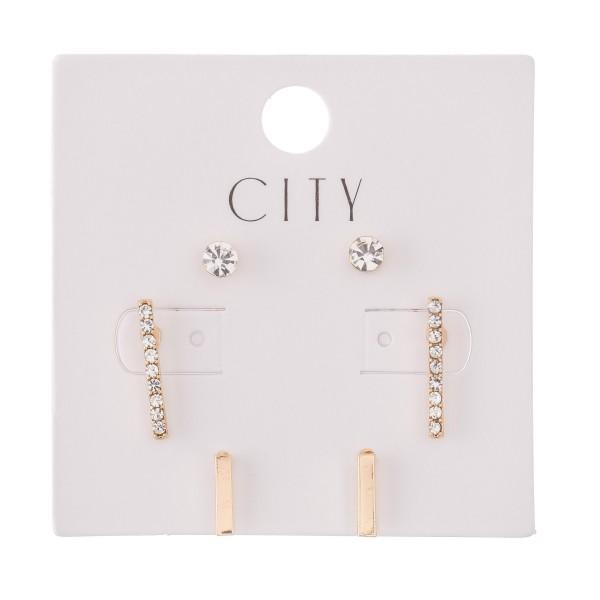 "Rhinestone Bar Stud Earring Set in Gold.  - 3 Pair Per Set - Approximately 4mm - .75"""