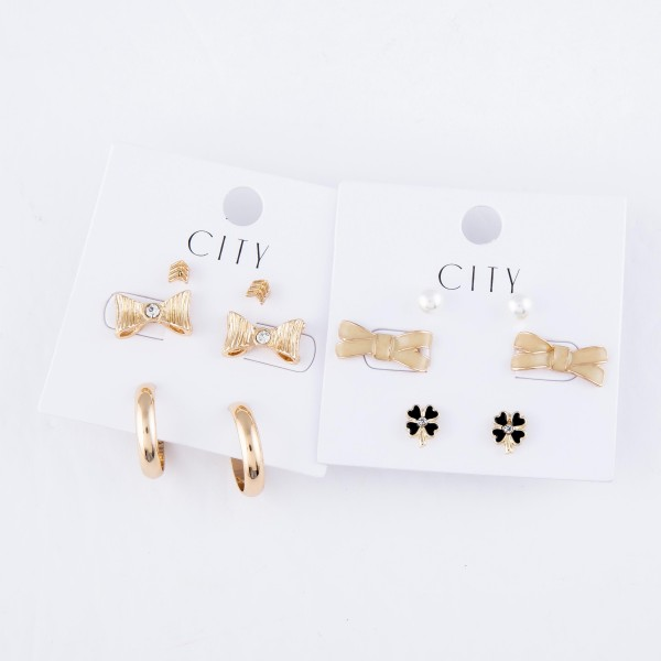 Enamel Coated Bow Stud Earring Set Featuring Pearls, Bows & Clovers in Gold.  - 3 Pair Per Set - Approximately 6mm - .75""