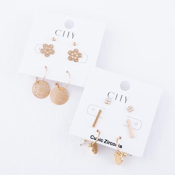 "Filigree Flower Stud Earring Set Featuring Ball Studs, Filigree Flowers & Filigree Drop Hoops in Gold.  - 3 Pair Per Set - Approximately 2mm - .5"" in diameter"