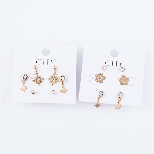 Filigree Flower Stud Earring Set Featuring Rhinestones, Filigree Flowers & Natural Stone Starburst in Gold.  - 3 Pair Per Set - Approximately 4mm - 1cm