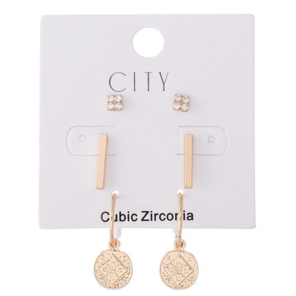 Cubic Zirconia Stud Bar Earring Set Featuring Drop Hoops in Gold.  - 3 Pair Per Set - Approximately 5mm - .5""