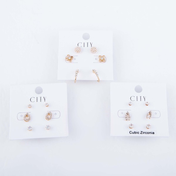 Cubic Zirconia Wishbone Stud Earring Set in Gold.  - Approximately 2mm - 1cm