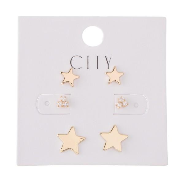 Rhinestone Star Stud Earring Set in Gold.  - 3 Pair Per Set - Approximately 4mm - 1cm