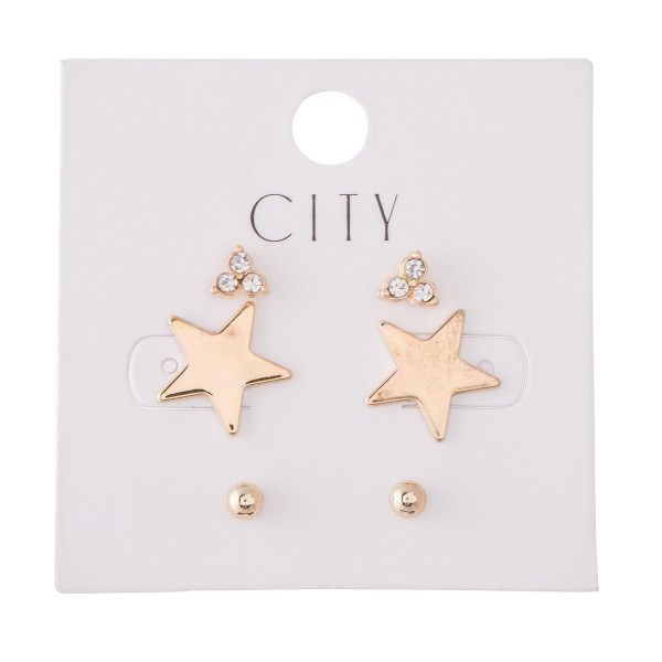 Rhinestone Star Stud Earring Set Featuring Rhinestones, Stars & Ball Studs in Gold.  - 3 Pair Per Set - Approximately 4mm - 12mm