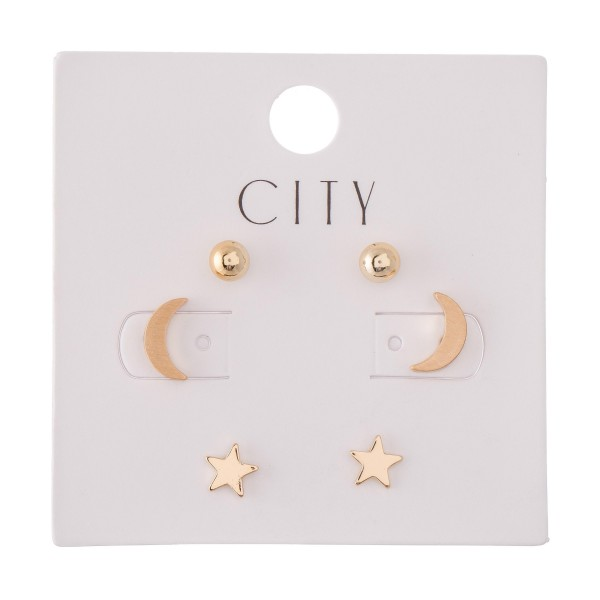 Moon & Star Stud Earring Set in Gold.  - 3 Pair Per Set - Approximately 4mm - 1cm