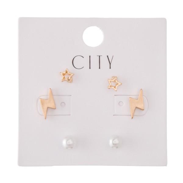 Pearl, Star & Lightning Bolt Stud Earring Set in Gold.  - 3 Pair Per Set - Approximately 4mm - 1cm