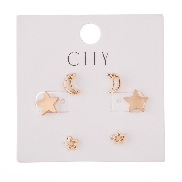 Moon & Stars Stud Earring Set in Gold.  - 3 Pair Per Set - Approximately 4mm - 1cm