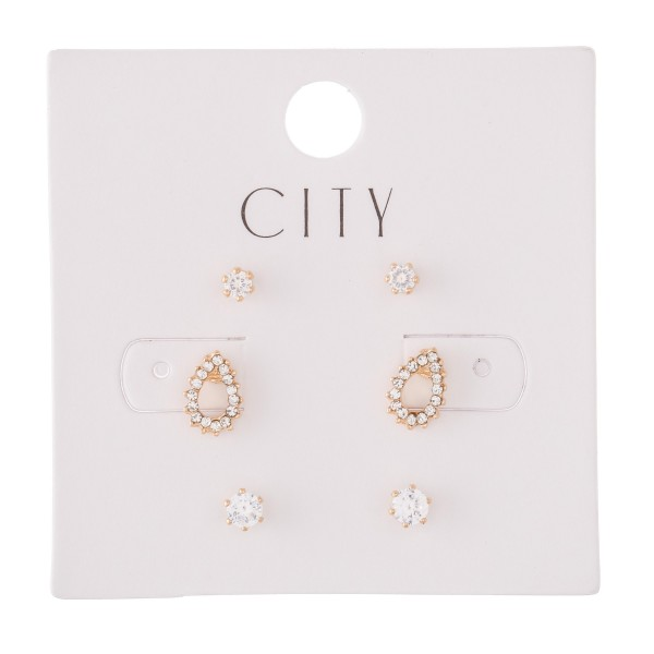 Rhinestone Teardrop Stud Earring Set in Gold.  - 3 Pair Per Set - Approximately 2mm - 1cm
