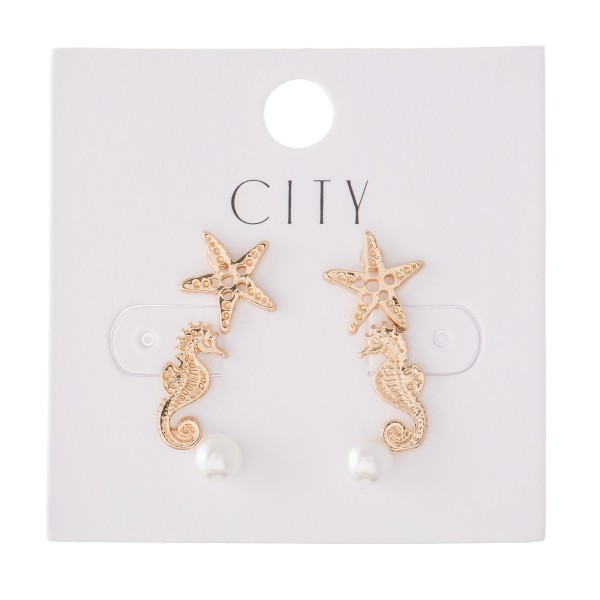 Sea Life Pearl Stud Earring Set Featuring Starfish, Seahorse & Pearls in Gold.  - 3 Pair Per Set - Approximately 6mm - 1cm