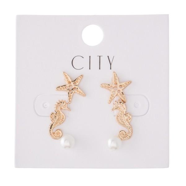 Wholesale sea Life Pearl Stud Earring Set Starfish Seahorse Pearls Gold Pair Per