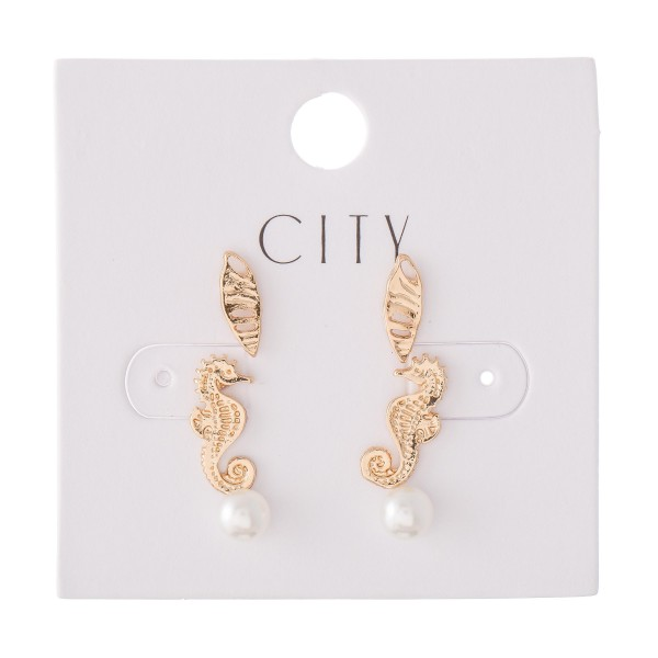 Seahorse Pearl Stud Earring Set in Gold.  - 3 Pair Per Set  - Approximately 6mm - 1cm